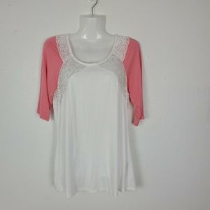 BKE woman top 3/4 sleeve Sz M lace Orange white